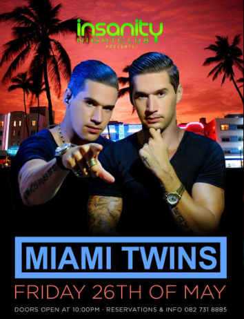 Miami Twins at Insanity Nightclub Bangkok – 26 May 2017