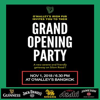 O'Malley's Irish Pub Grand Opening Party – Silom Road Bangkok – 1 November 2018