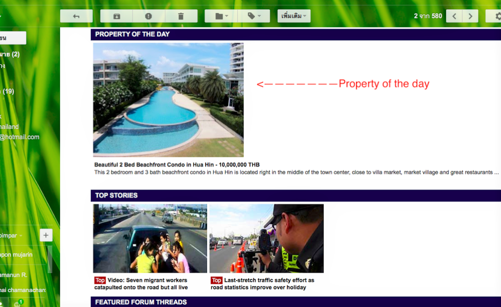 """Thaivisa daily E newsletter """"Property of The day"""" Reach 323,000 Subscribers with your property in a single email."""