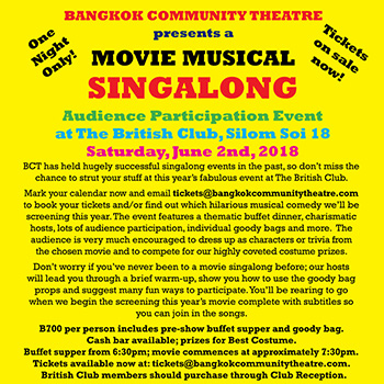BCT presents: Movie Musical Sing Along at The British Club Bangkok – 2 June 2018