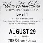 Wine Masterclass – Beginner at Brass Bar & Cigar Lounge – Wednesday 29th August 2018