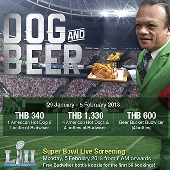 Super Bowl + Dog & Beer Promotion at The Drunken Leprechaun Bangkok – 29 January 2018