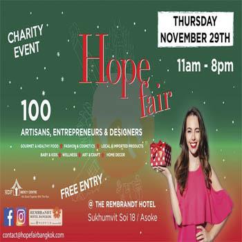 Xmas Giant Hope Fair 2018! at Rembrandt Hotel & Towers, Bangkok – Thursday 29th November
