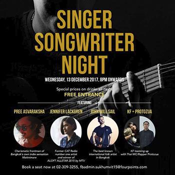 Singer Songwriter Night at The Drunken Leprechaun Bangkok – 13 December 2017