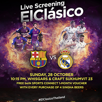 FC Barcelona vs Real Madrid Live Screening at at Whisgars & Craft Sukhumvit 23 – 28 October 2018