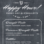 Happy Hour All Day Every Day at O'Malley's Irish Pub Bangkok!
