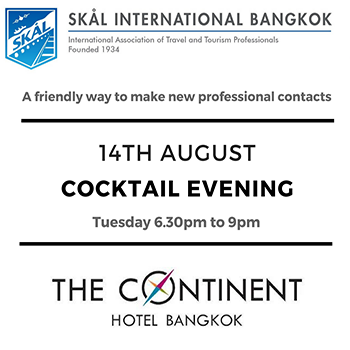 SKAL Bangkok – Networking Cocktails at Heightz Bangkok Restaurant and Bar of The Continent Hotel – 14th August 2018